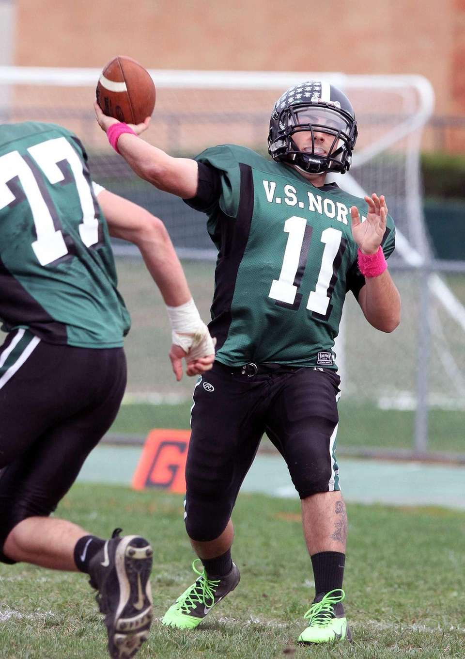 Valley Stream North quarterback Anthony Martelli fires down