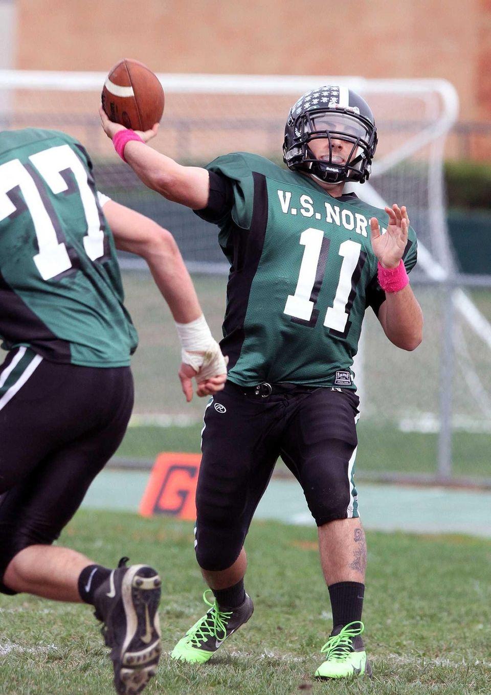 Valley Stream North quarterback Anthony Martelli fires down