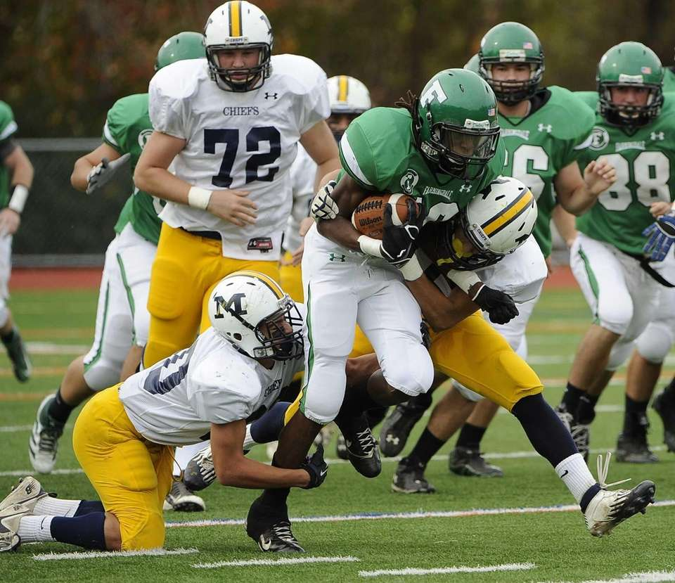 Farmingdale's Curtis Jenkins drives for a first down