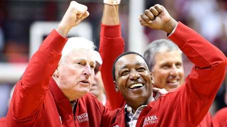 Former Indiana Hoosiers head coach Bob Knight, left,