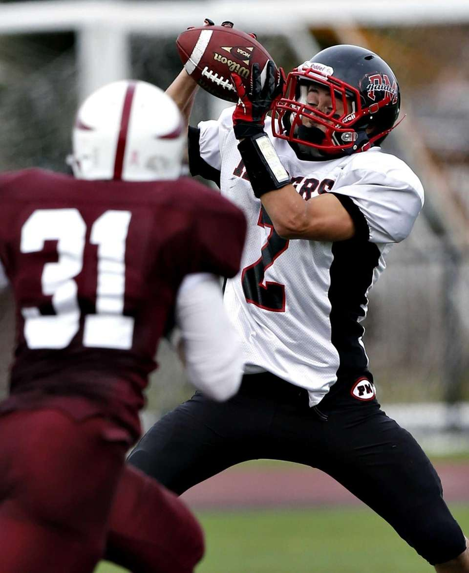 Patchogue wide receiver Samuel Campanella with the reception