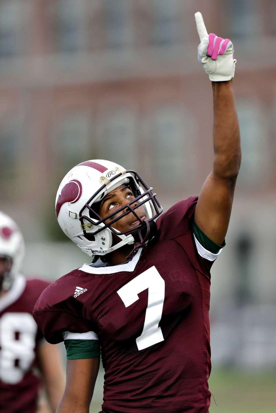 Bay Shore's Devaughn Burton reacts after his team's