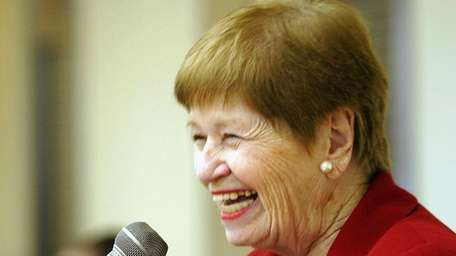 The late tTown Supervisor May Newburger speaks after