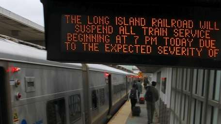 An electronic sign at the railroad station in