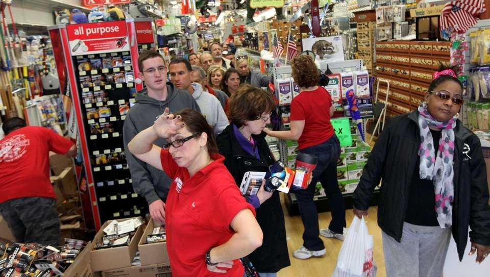 Trio Hardware in Plainview was packed as people
