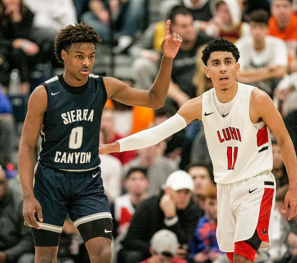 Bronny James of Sierra Canyon is guarded by