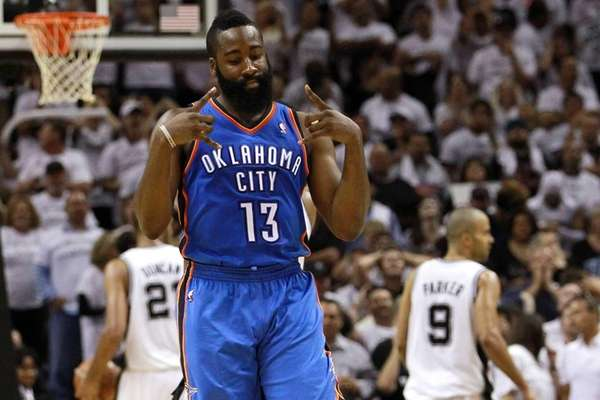 The Oklahoma City Thunder traded James Harden, above
