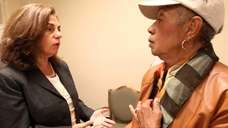 Vivianne Falcone, Democratic Congressional candidate, talks with Alice