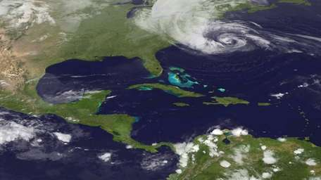 This image from a NOAA satellite shows Hurricane