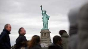 The Statue of Liberty is seen from the