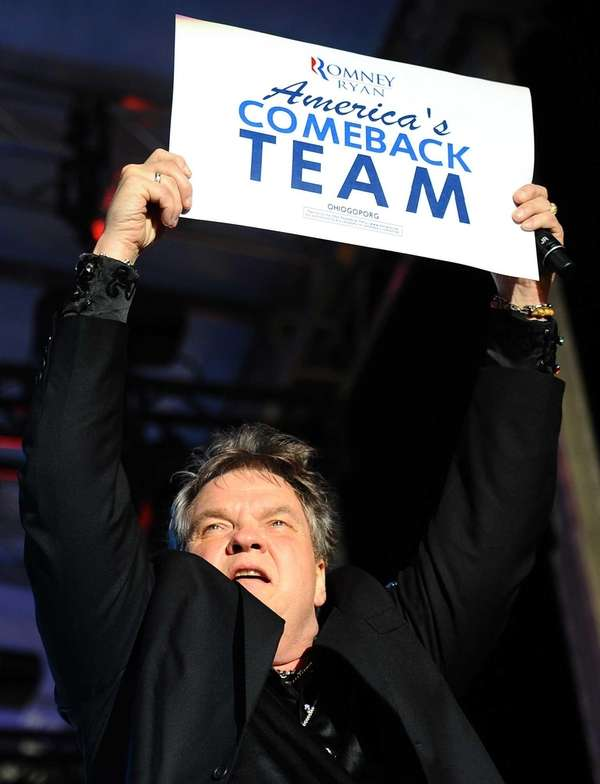 Singer Meat Loaf performs during a rally by