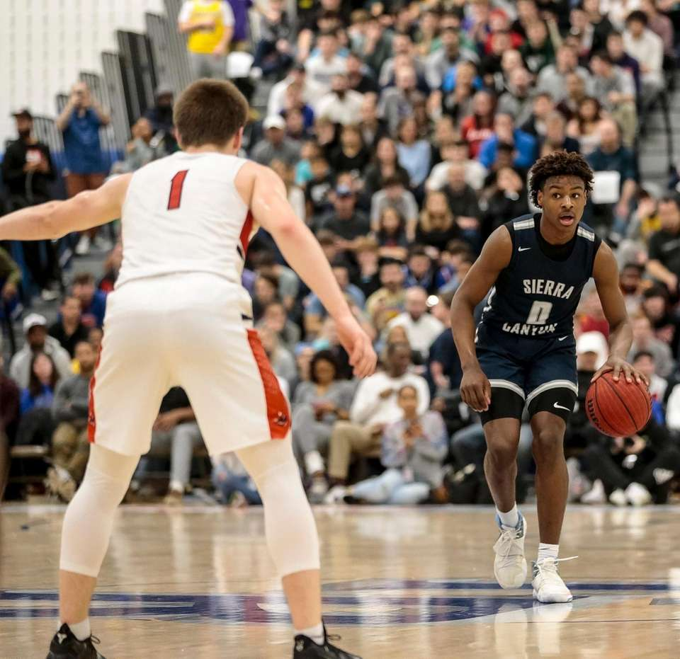 Bronny James of Sierra Canyon moves the ball