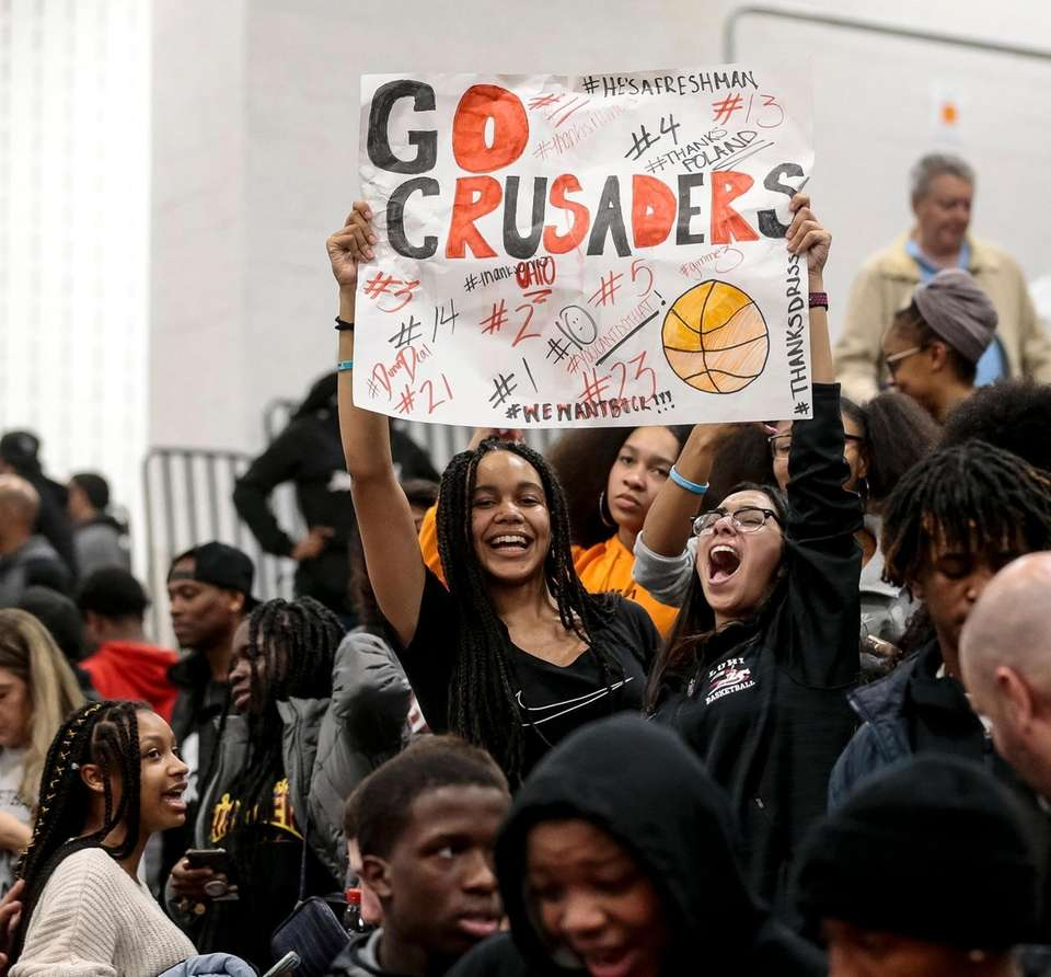 Long Island Lutheran fans celebrate their teams victory