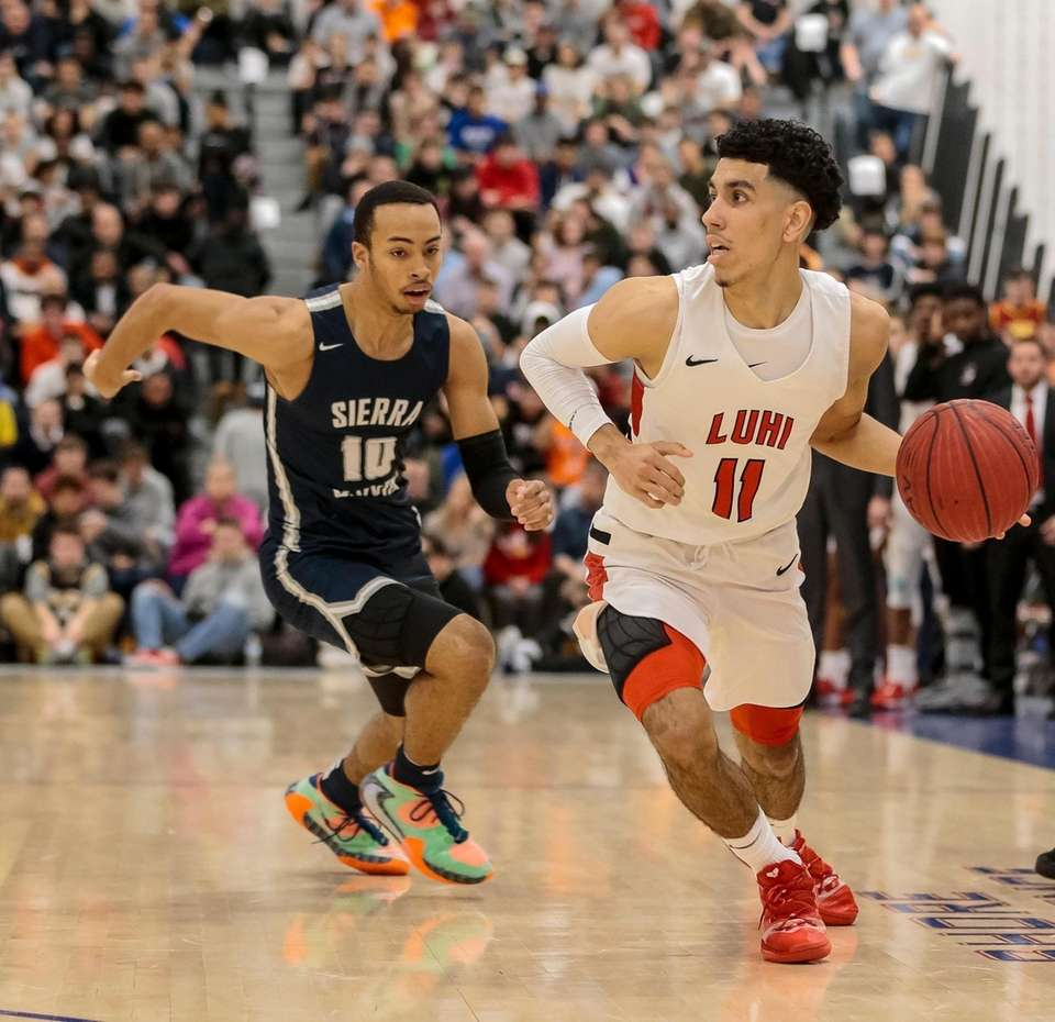 Andre Curbelo of Long Island Lutheran moves the