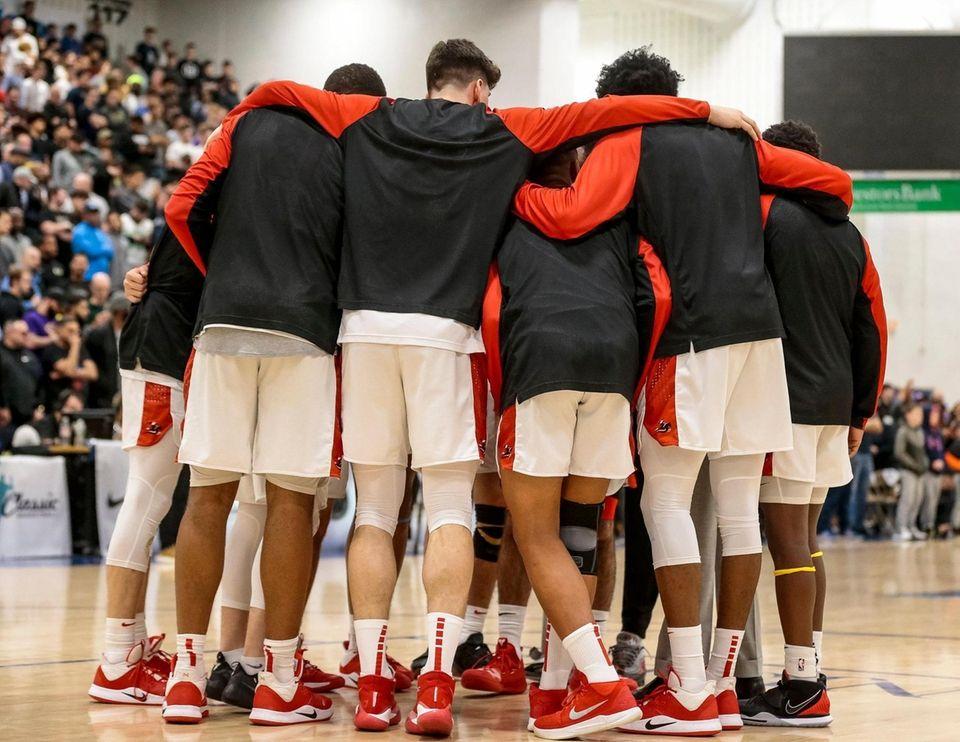 Long Island Lutheran players huddle prior to taking