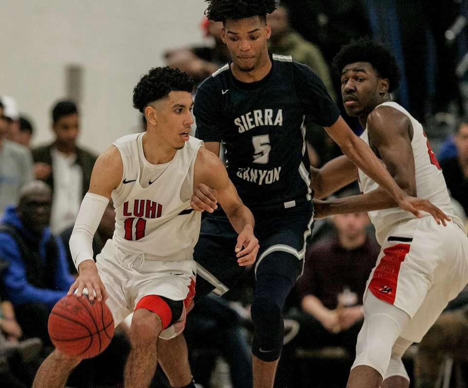 Andre Curbelo of Long Island Lutheran looks to