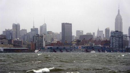 The New York City skyline and Hudson River