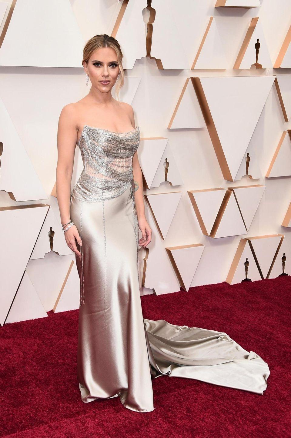 Scarlett Johansson arrives at the Oscars on Sunday,