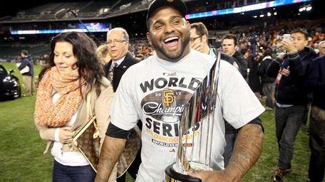 Pablo Sandoval of the San Francisco Giants celebrates