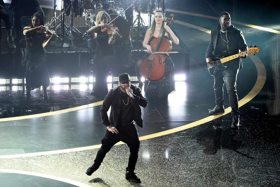 """Eminem performs """"Lose Yourself"""" at the Oscars on"""