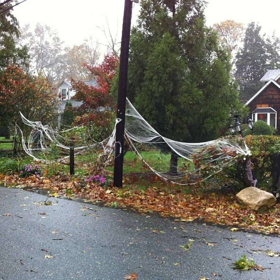 Halloween decorations in peril in Huntington Station. (Oct.
