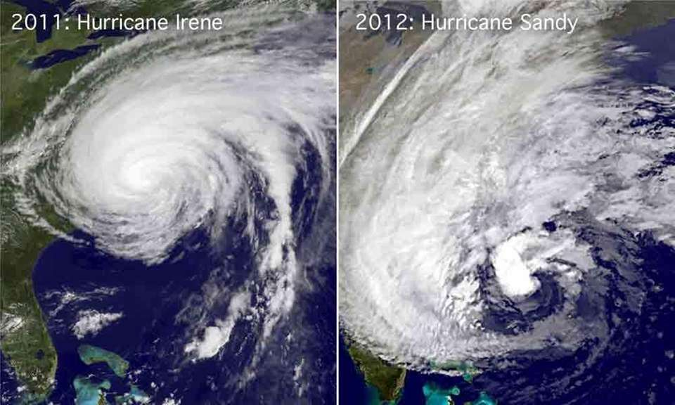 Left, a satellite image of Hurricane Irene off