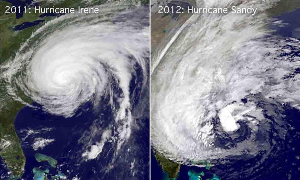 Left, a satellite image of Hurricane Irene off