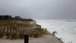 The ocean batters away at the beach near