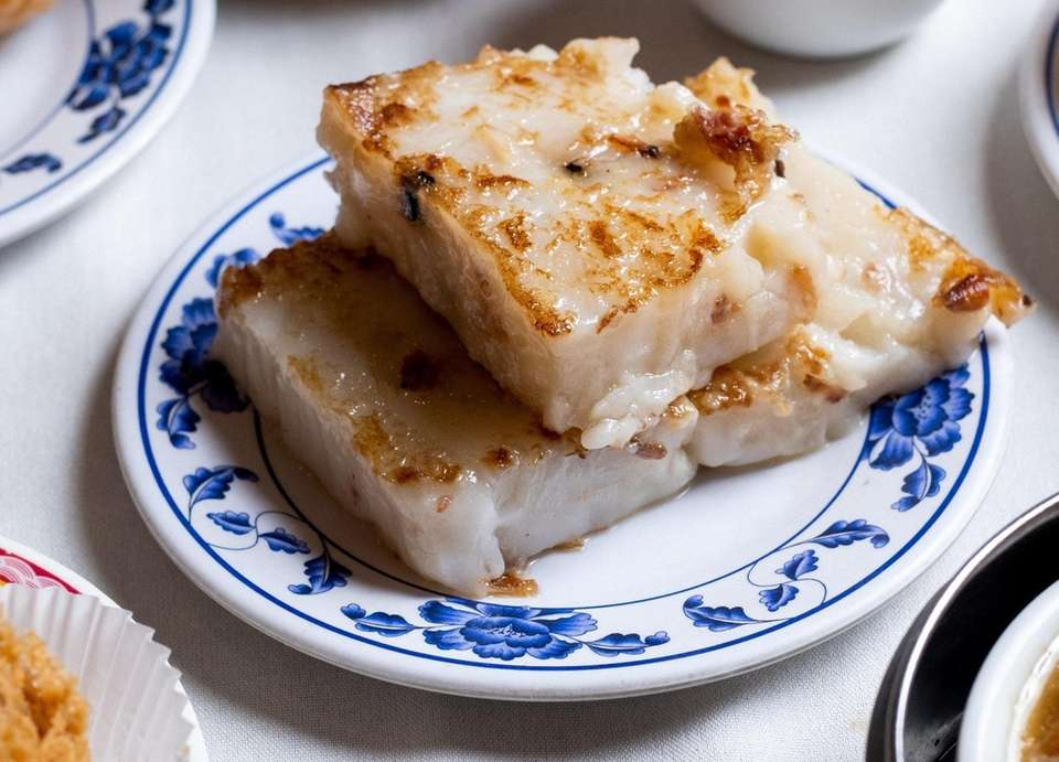 Seared turnip cakes are an enchanting dish at