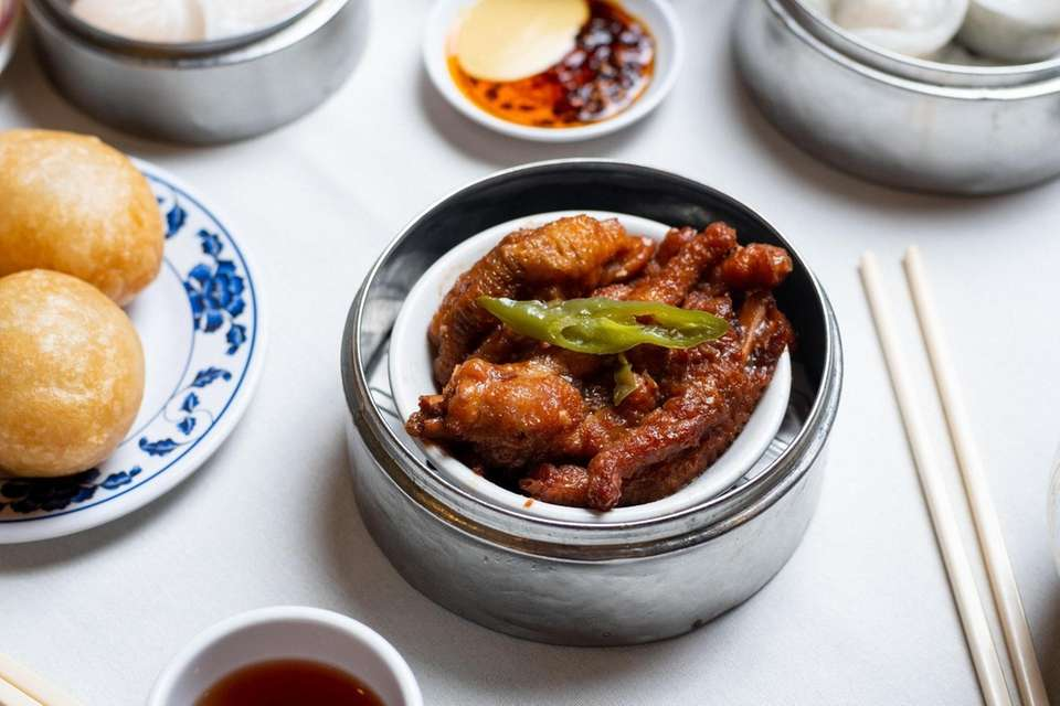 Steamed chicken feet are a dim sum specialty