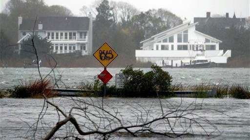 A downed limb lies in a flooded street
