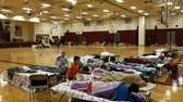A few dozen people take refuge from Hurricane