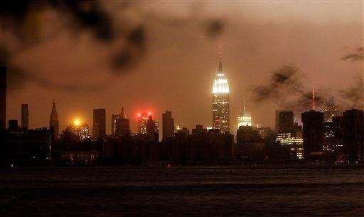 The Manhattan skyline remains dark after Hurricane Sandy,