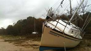 A sailboat brought in Monday night by the