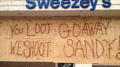 A warning sign on Sweezey's on New York