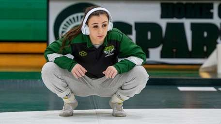 Ally Fitzgerald stretching before a match on Jan.