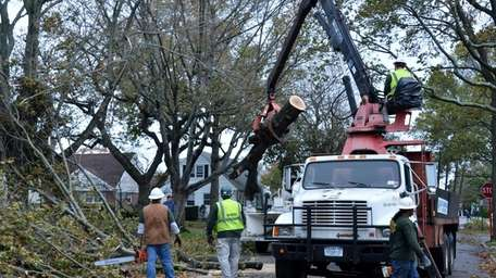 A LIPA Tree Clearance Crew removes downed trees