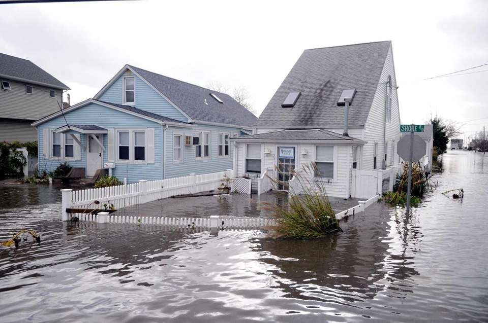 Homes under water down Shore Road in Lindenhurst.