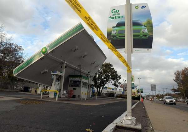 The canopy roof of a BP gas station