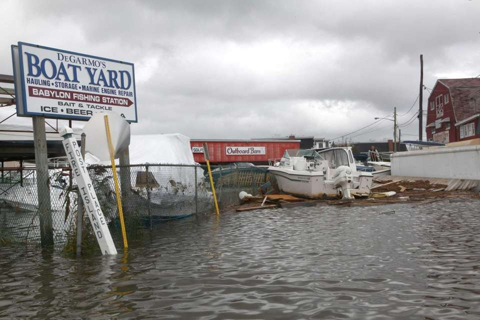 DeGarmo's Boat Yard in Babylon Village stands flooded