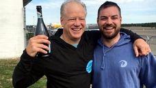 Dan Martinsen, left, celebrates with his son Danny