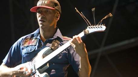 Guitarist Tom Morello for the band Rage Against