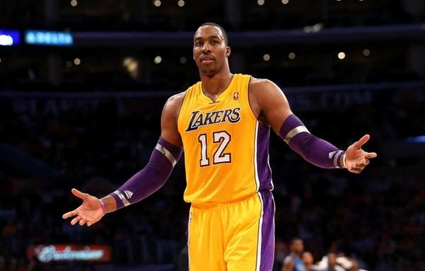 Dwight Howard of the Los Angeles Lakers gestures