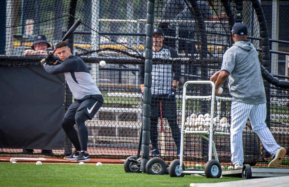 New York Yankees' Gary Sanchez taking batting practice