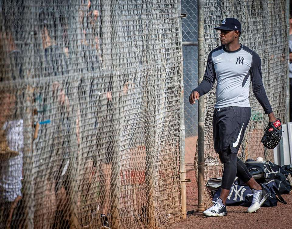 Yankees pitcher Luis Severino after warming up his