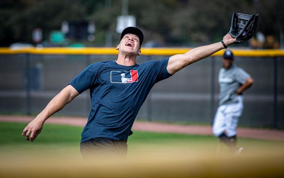 Yankees outfielder Aaron Judge fields a fly ball