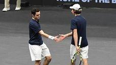 Hofstra University's doubles team of Shawn Jackson, left,
