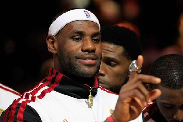 LeBron James of the Miami Heat looks at