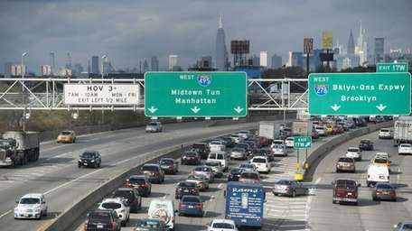 Westbound morning traffic on the Long Island Expressway.