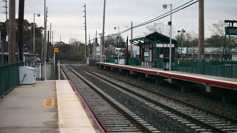 The LIRR station in Islip, empty after Superstorm